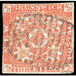 New brunswick stamp 1a pence issue 3d 1851 u vf 003