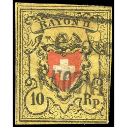 switzerland stamp 8 rayon ii 10r 1850 U 001