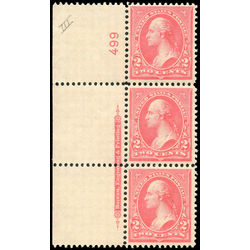 us stamp postage issues 267a washington 2 1897 plate strip 001