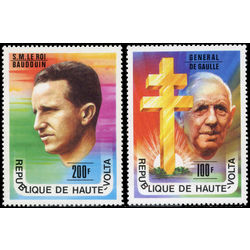 burkina faso stamp 434 5 de gaulle and king baudouin 1977