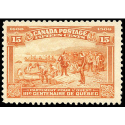 Canada stamp 102 champlain s departure 15 1908 m vf ng 003