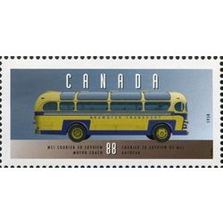 canada stamp 1527f mci courier 50 skyview motor coach 1950 88 1994
