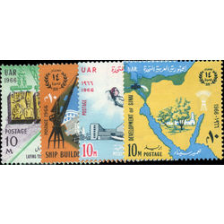 egypt stamp 698 701 14th anniversary of the revolution 1966