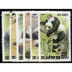korea north stamp 2962 2967 pandas 1991