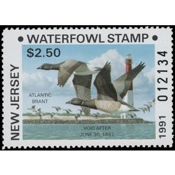 us stamp rw hunting permit rw nj17 new jersey atlantic brant 2 50 1991