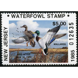us stamp rw hunting permit rw nj4 new jersey mallards 5 1985