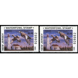 us stamp rw hunting permit rw nj25a 26a new jersey widgeons lighthouse bktl single perf 3 sides 1995