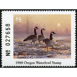 us stamp rw hunting permit rw or5 oregon great bassin canada geese 5 1988