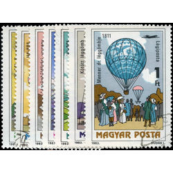hongrie stamp c438 c444 hot air balloons 1983