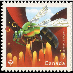 canada stamp 3100 metallic green bee agapostemon virescens 2018