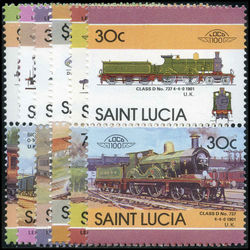 st lucia stamp 1 classic trains 1983