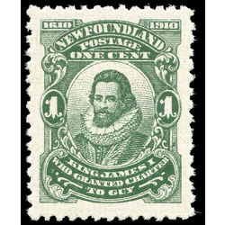 newfoundland stamp 87 king james i 1 1910