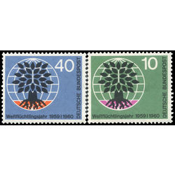 germany stamp 807 8 uprooted oak emblem world refugee year 1960