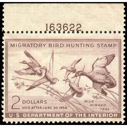 us stamp rw hunting permit rw20 blue winged teal 2 1953 m nh 001