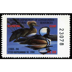us stamp rw hunting permit rw al11 alabama hooded mergansers 5 1989