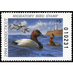 us stamp rw hunting permit rw ct2 canvasbacks connecticut 5 1994