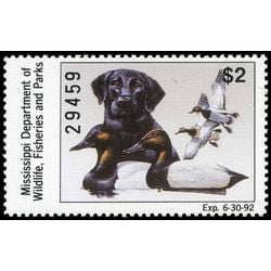 us stamp rw hunting permit rw ms16 mississipi labrador retirever and canvasbacks 2 1991