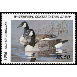 us stamp rw hunting permit rw nc4 north carolina canada geese 5 50 1986
