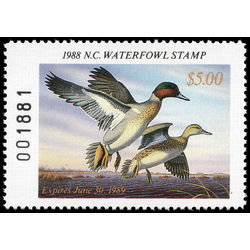 us stamp rw hunting permit rw nc6 north carolina green winged teal 5 1988