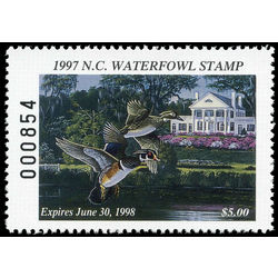 us stamp rw hunting permit rw nc15 north carolina wood ducks 5 1997