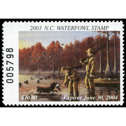 us stamp rw hunting permit rw nc27 north carolina ring necked ducks hunters and dog 10 2003