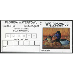 us stamp rw hunting permit rw fl22 florida ring necked duck 3 2000