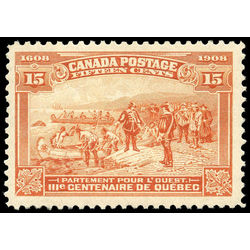 canada stamp 102 champlain s departure 15 1908 m vfnh 010