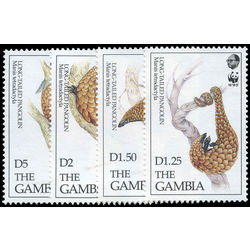gambia stamp 1362 1365 long tailed pangolin world wildlife fund 1993