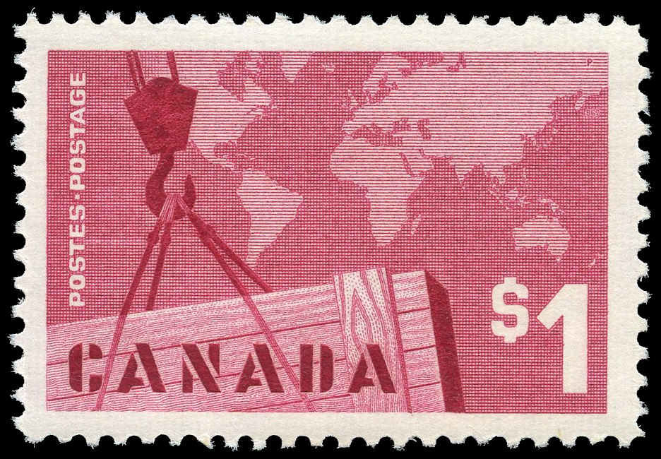 Buy Canada #411 - Crane and Map (1963) $1   Arpin Philately