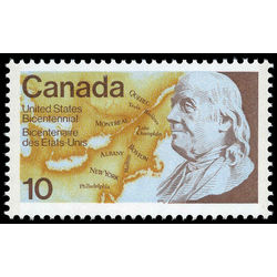 canada stamp 691 benjamin franklin and map 10 1976