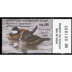 us stamp rw hunting permit rw md15 maryland ruddy ducks 6 1988