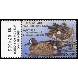 us stamp rw hunting permit rw md16 maryland blue winged teal 6 1989