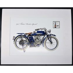 commemorative lithograph of the 1914 indian motocycle