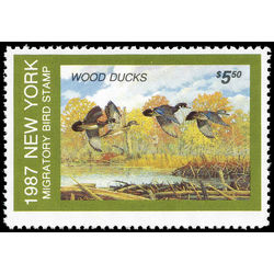 us stamp rw hunting permit rw ny3 new york wood ducks 5 50 1987