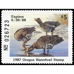 us stamp rw hunting permit rw or4 oregon white fronted geese 5 1987