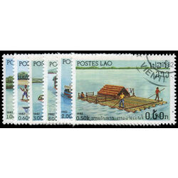 laos stamp 393 8 river vessels 1982