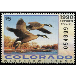 us stamp rw hunting permit rw co1 colorado canada geese 5 1990