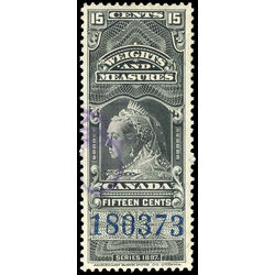 canada revenue stamp fwm47 victoria weights and measures 15 1897
