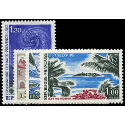 france stamp 1278 81 haute provence observatory and gosier islet guadeloupe 1970