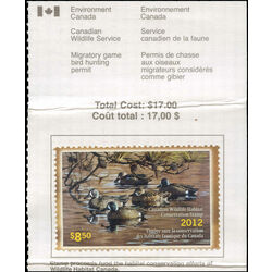 canadian wildlife habitat conservation stamp fwh29a blue winged teals 8 50 2012