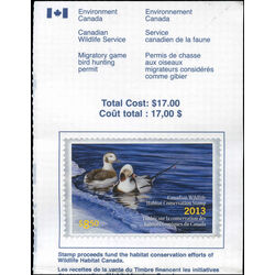 canadian wildlife habitat conservation stamp fwh30a long tailed duck 8 50 2013