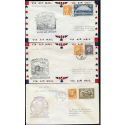 3 canada first flight covers franked with 178