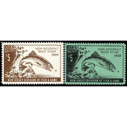 united states new jersey 1958 and 1959 trout stamps