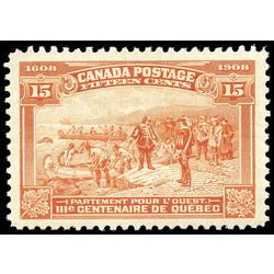 canada stamp 102 champlain s departure 15 1908 m vf 015