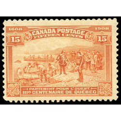canada stamp 102 champlain s departure 15 1908 m fnh 016