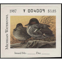 us stamp rw hunting permit rw mi12 michigan green winged teal 3 85 1987
