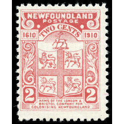 newfoundland stamp 88c coat of arms 2 1910 m f 001