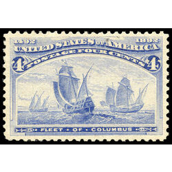 us stamp postage issues 233 fleet of columbus ultramarine 4 1893 m vf xfnh 001