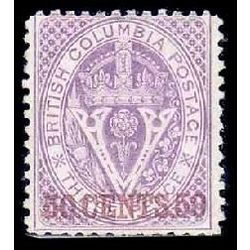 british columbia vancouver island stamp 17 surcharge 1869