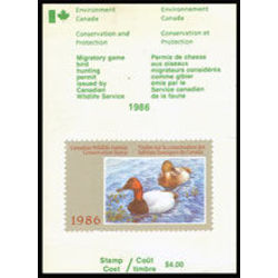 canadian wildlife habitat conservation stamp fwh2a canvasbacks 4 1986